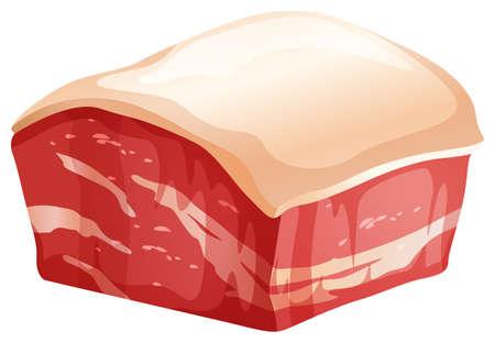 chunk: Chunk of pork with skin illustration Illustration