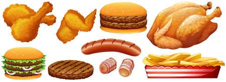 bacon art: Fast food junk on white illustration