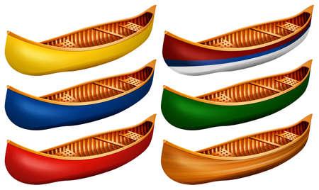 canoe: Wooden canoe in six colors Illustration