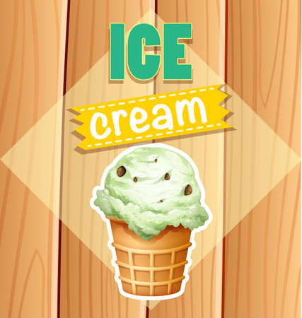 carpentry cartoon: Ice cream picture and word on a white rhombus shape with wooden plank on the background Illustration