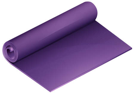 yoga mat: Half rolled purple yoga mat on a white background Illustration