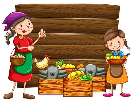 wooden box: Farmers and vegetables in the wooden box