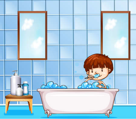 a toilet stool: Boy sitting in a bathtub filled with bubbles in a bathroom and brushing his teeth