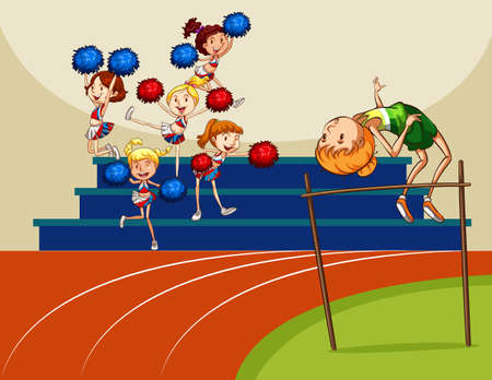 high jump: Girl doing high jump in the field full of cheerleaders Illustration
