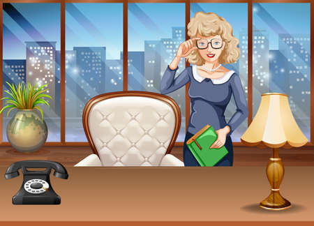 office building: Businesswoman standing in the office Illustration