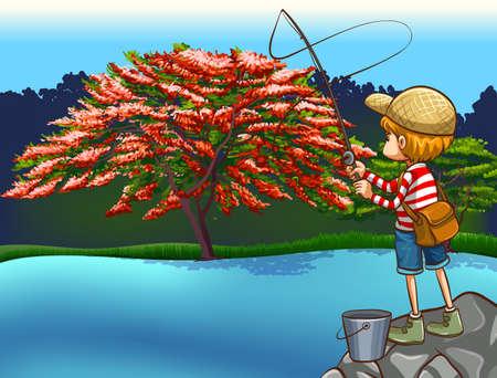 circundante: Pesca do menino no rio com uma bela natureza circundante Ilustra��o