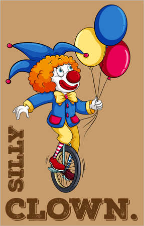 carnival costume: Clown riding on a bike holding balloons Illustration