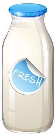 latte fresco: Bottiglia di latte con un tag di FRESH su di esso Vettoriali