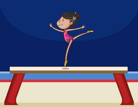gymnastik: Mädchen Durchführung Turn auf einem Brett