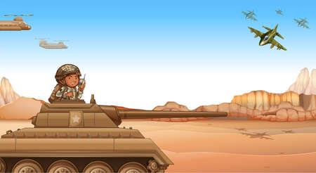 Soldier riding a tank at the battle field Illustration