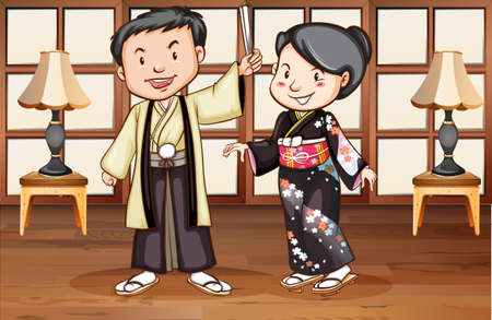 asian man smiling: Japanese man and woman in their outfit Illustration