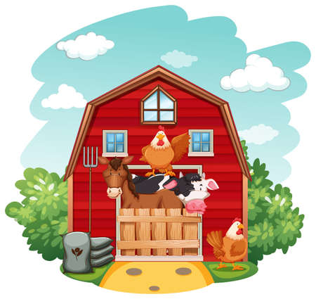 Farm animals in the barn