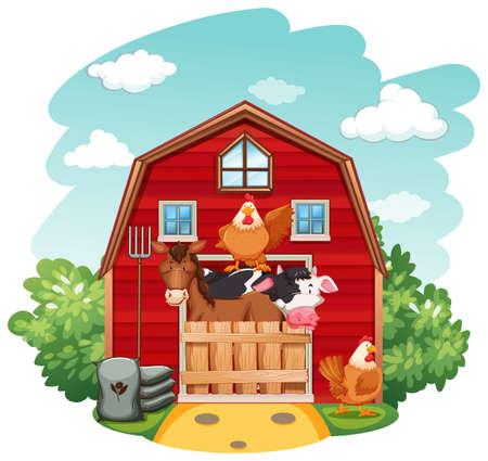 animals on the farm: Los animales de granja en el establo