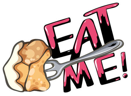 eat me: Sign saying eat me with fork and food