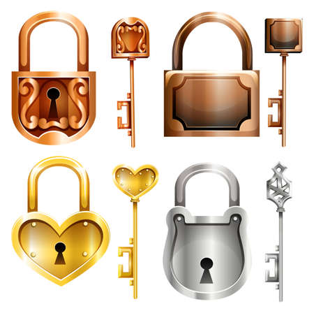 locks: Set of four different shapes and colors lock and key