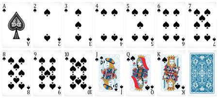Satz von Poker-Karten mit Front- und Back-Design Standard-Bild - 42519923