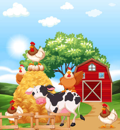 Farm animals together in the farmhouse