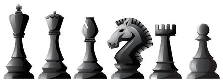 chess pieces: Set of black chess in classic design Illustration