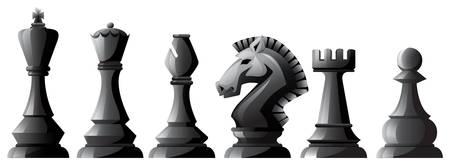 Set of black chess in classic design Illustration