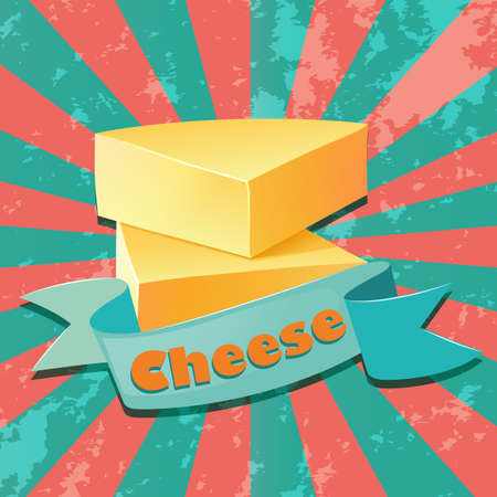 protien: Fresh cheese on striped background Illustration