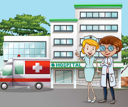 happy people working: Doctor and nurse standing in front of the hospital