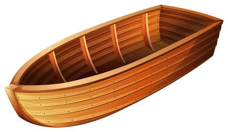 bateau voile: Bateau en bois sur un seul balcground blanc