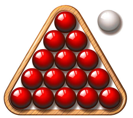 snooker balls: Snooker balls in red and white