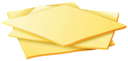 Three slices of cheese on a white background