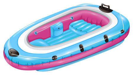 inflate boat: Blue and pink rubber boat on a white background