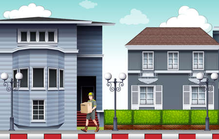brick road: Front view of a modern gray color house Illustration