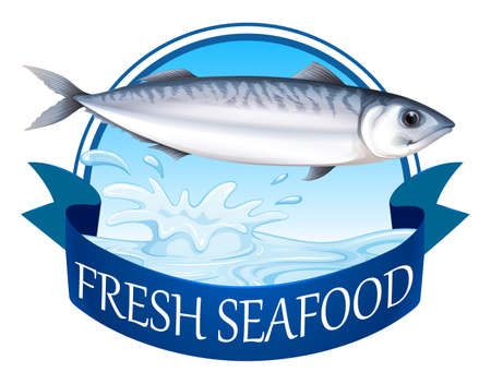 seawater: Fresh tuna with advertisement banner Illustration