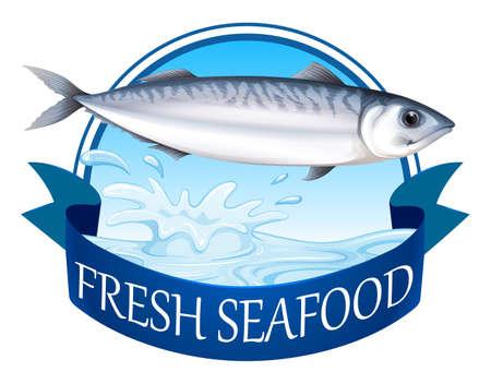 advertisement: Frischer Thunfisch mit Werbebanner Illustration
