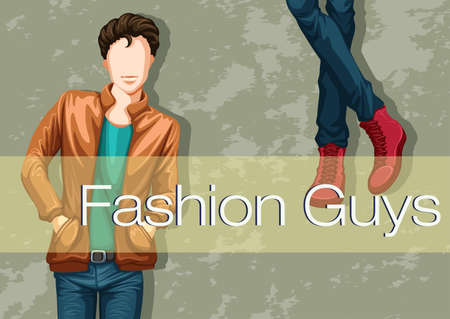 male fashion model: Male fashion with model and text Illustration