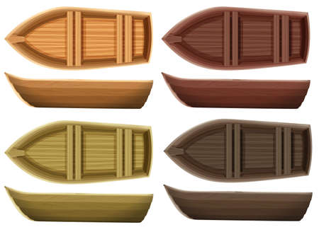 Set of different color wooden boats both top view and side view