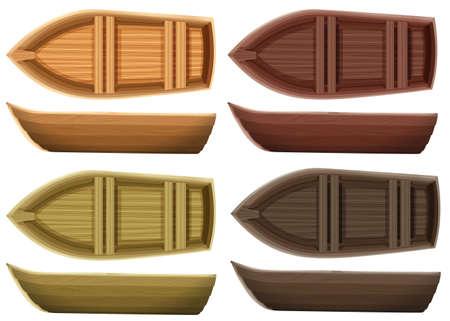 vista superior: Conjunto de diversos barcos de madera de color ambas vista superior y vista lateral