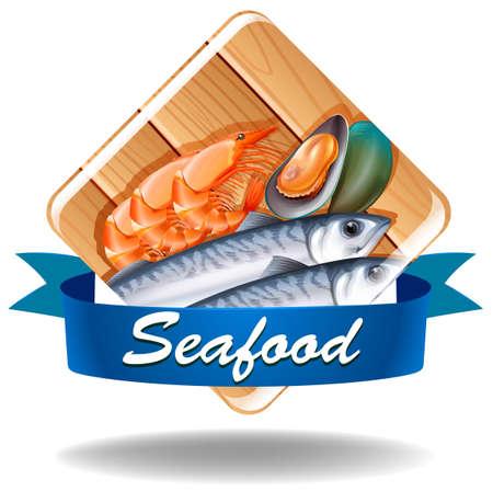 Different kind of seafood with banner Ilustração