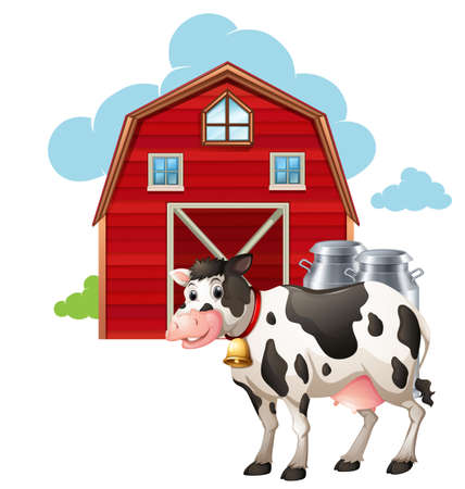 barns: Cow standing in front of the barn and milk tank