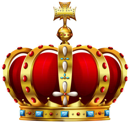 Golden-red crown decorated with colorful stones Ilustracja
