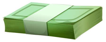 bills: Money bills wrapped in one pack Illustration