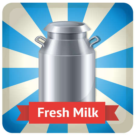 steel  milk: Milk steel container with a banner of Fresh