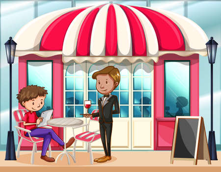 deciding: Waiter waitng with a drink and a man deciding on menu Illustration