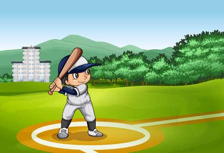 golpeando: Muchacho que golpea la bola con un bate de b�isbol