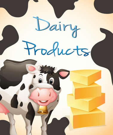 milk cheese: Poster of Dairy Products with picture of a cow and cheese