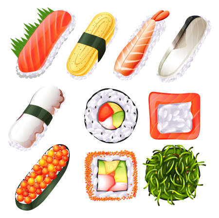 egg roll: Sushi set with fresh fish and other seafood Illustration