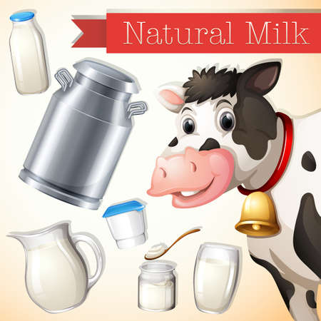 differnt: Banner of Natural Milk with pictures of a cow and differnt types of conatiners