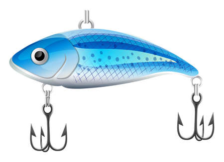 fishhook: Artificial fish bait with hooks on white backdround Illustration
