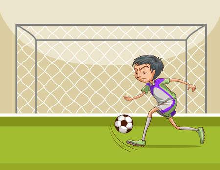 footbal: Man running and kicking footbal in a football ground