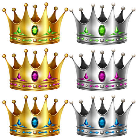 silver: Gold and silver crowns with gems Illustration