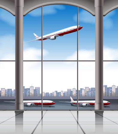 空港で離着陸の飛行機  イラスト・ベクター素材