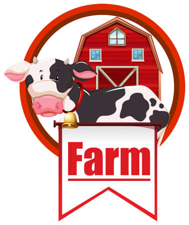 wording: Cow and barn sign with wording Illustration